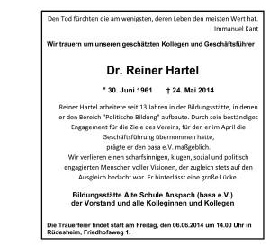 Reiner Hartel RIP